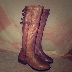 Steve Madden Mikel Brown Leather Knee High Boots